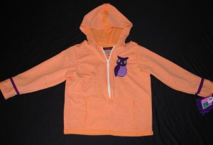 girls orange owl in a tree hoodie! Sizes --2T UP TO 5T