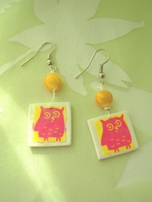 What a hoot Pink and Yellow Owl earrings
