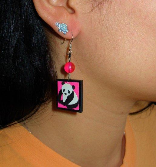 Pink Mr.Bamboo Panda Earrings