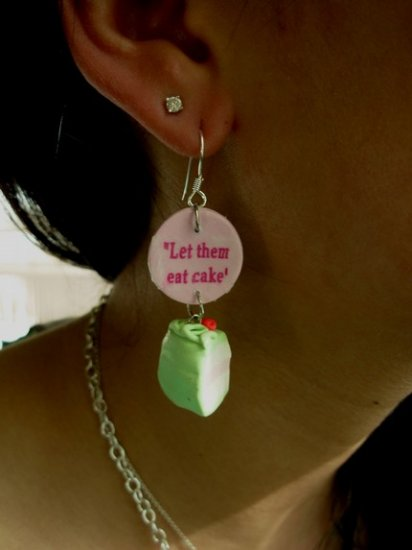 Marie Antoinette inspired LET THEM EAT CAKE earrings
