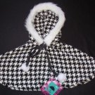 Houndstooth Childrens Winter Capelet
