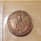 Rare Germany Third Reich - 2 Reichspfennig 1937 E with swastika (2/2)