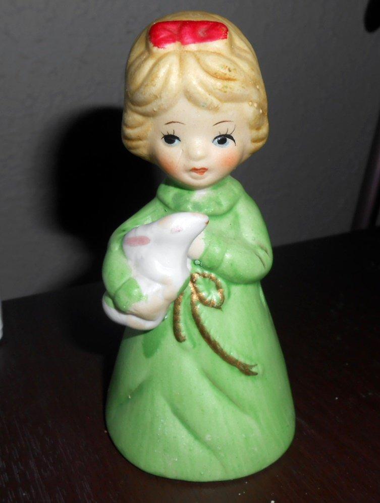 Vintage 1976 Little Girl Jasco Merri-Bells Porcelain Bell Figurine #1118245