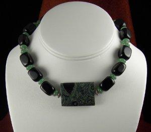 Black onyx and Kambaba Jasper necklace. PegM