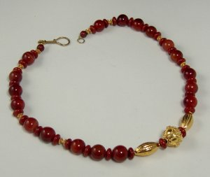 VINTAGE CARNELIAN, RED JASPER AND GOLD FILLED FOCAL BEADS. PegM