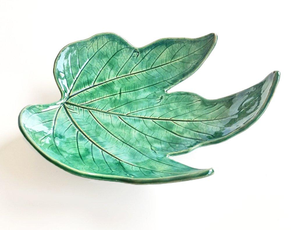Ceramic leaf shaped trinket dish, ring holder, ring dish, cone incense burner