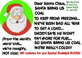 ACEO Art Card SANTA, BRING US COAL! funny humor Christmas Xmas holiday digital cards