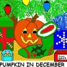 ACEO Art Card PUMPKIN IN DECEMBER Series Halloween jack o' lantern Christmas Xmas digital cards