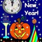 ACEO Art Card PUMPKIN IN JANUARY Series New Year's Eve Day Halloween jack o' lantern digital cards
