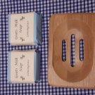 Wooden Soap Dish & Lemongrass Scented Goat Milk Soap (80g)