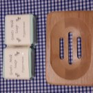 Wooden Soap Dish & Peppermint Scented Goat Milk Soap (80g)
