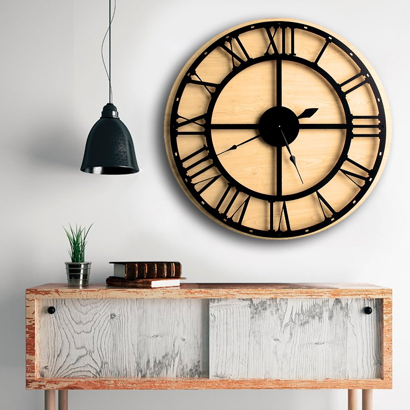 Large Wall Clock,Modern Wall Clock,Engagement Wedding Gift,Large Unique Wood,Home decor