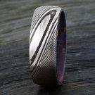 Damascus Steel Ring Band inner Shall Blue Carbon Fiber Custom Width Handmade Damascus Ring