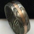 Damascus Steel Ring Band Rose gold Outer Liner Custom Width Handmade Damascus Ring Men