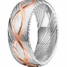 Damascus Steel Ring Band Handmade Damascus Ring Infinity Symbol Engraved Mens Damascus
