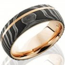 Damascus Steel Ring Yellow gold Outer Liner Yellow Gold Shall Custom Handmade Damascus Ring