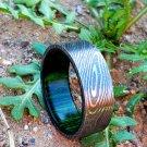Damascus Steel Ring Band Walnut Wood Shall Custom Width Handmade Damascus Ring Men