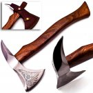 "17.5"" Custom Hand Made Forged Carbon Steel Hunting Axe Fixed Blade with Beautiful Design"