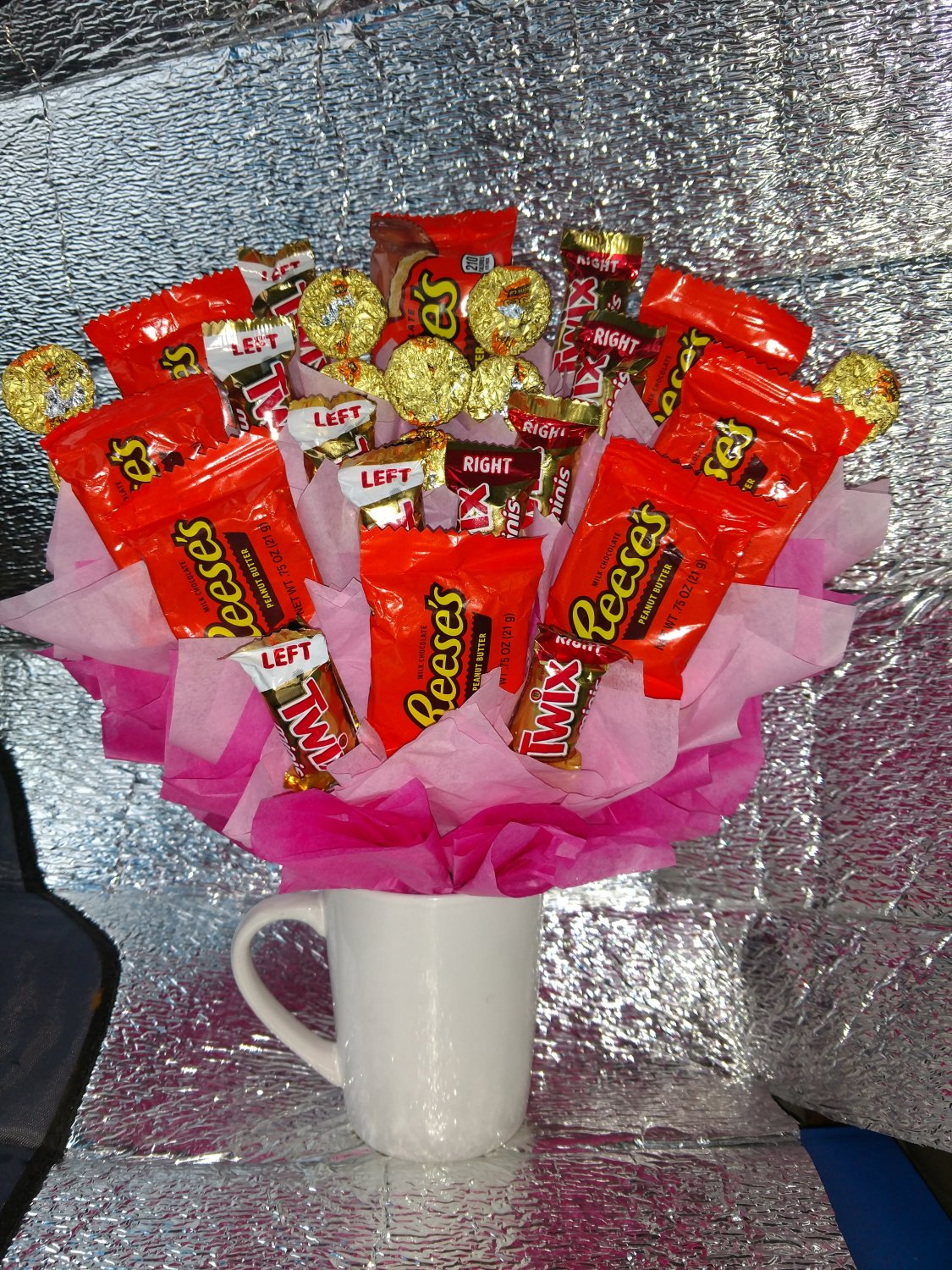 Reese's Cup and Twix Candy Bouquet
