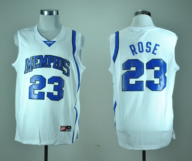 new concept 67b0f 46b85 Men's Memphis Tigers Derrick Rose 23 White College Basketball Throwback  Jersey