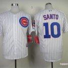 Chicago Cubs 10 Ron Santo White Pinstripe Cool Base Baseball Jersey