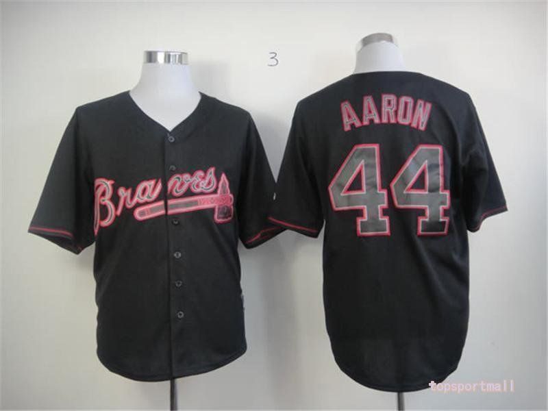 cheap for discount a0e89 d0913 Men's Atlanta Braves 44 Hank Aaron Black Cool base Baseball Jersey