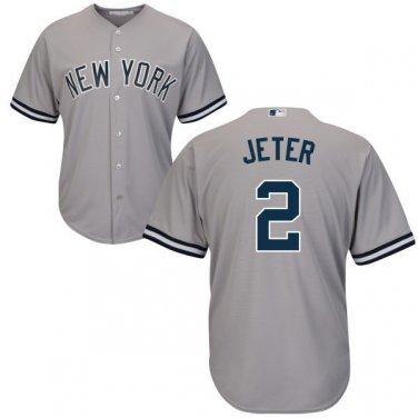 best website cfcb7 0e5e1 Men's New York Yankees #2 Derek Jeter Jersey Gray Cool Base ...