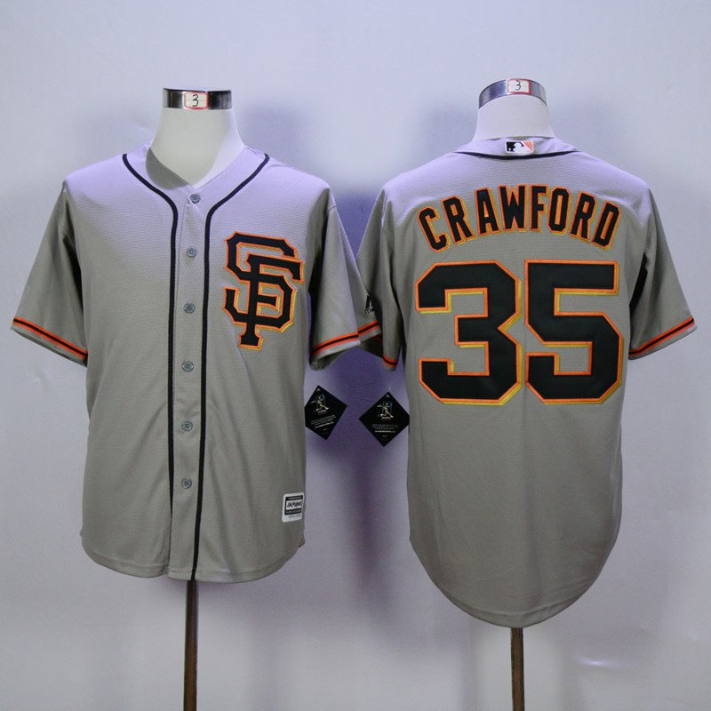 new arrivals 3f478 a6109 San Francisco Giants 35 Brandon Crawford SF Gray Cool Base Jersey