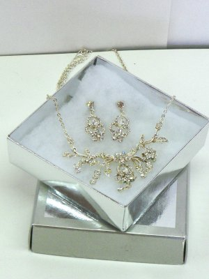 NEW- Rhinestone Necklace & Earring Set with Floral Design