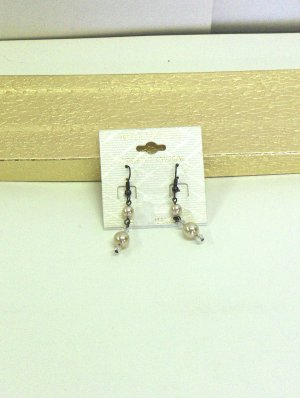 NEW - Faux Pearl and Crystal Antique Pewter Finish Earrings