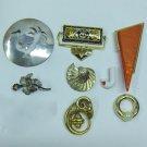 MIXED LOT R - 8 Pins mixed eras, bakelite, enamel, ceramic, silver & gold tone