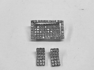 MIXED LOT L: Vintage 1960's Mad Men Rhinestone Clip Earrings and Matching Pin