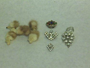 MIXED LOT T - 5 Pins mixed eras, Mink fur, rhinestones, silver & gold tone