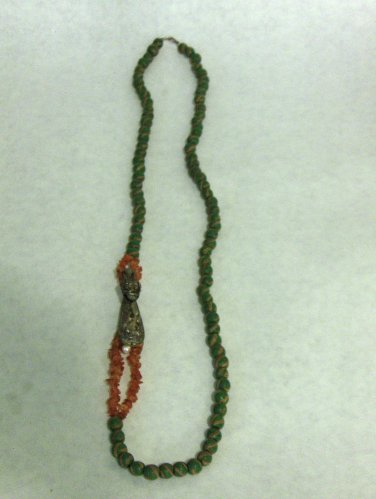 NEW - Artisan Polymer/Clay Long Bead Necklace with Silver Dragon