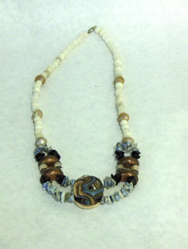 NEW - Artisan Ceramic & Copper Long Bead Necklace with Agate