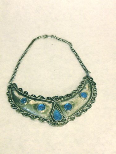 USED - Silver-tone Metal Necklace with Blue Glass Jewels