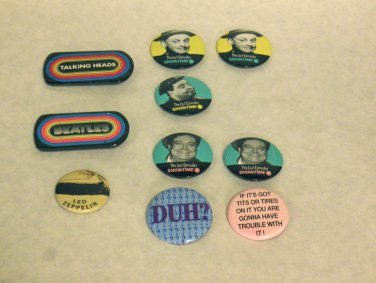 VINTAGE - Mixed Lot of Ten 1980's Flair, Buttons, Pins