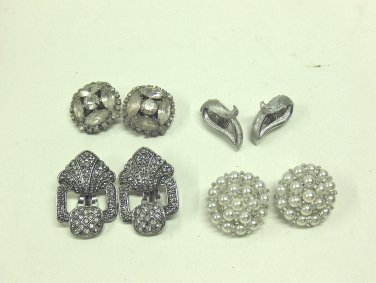 MIXED LOT A: 4 pairs of Vintage Clip-on Earrings- silver tone, rhinestone, pearl