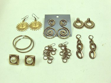 MIXED LOT B: 7 pairs 1980-90's Pierced Earrings, Gold Tones