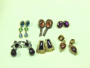 MIXED LOT G:  6 pairs Pierced Earrings, gold tone, black, brown, gems