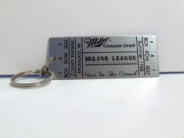 "NEW - Miller Genuine Draft & ""Major League"" ticket keychain"