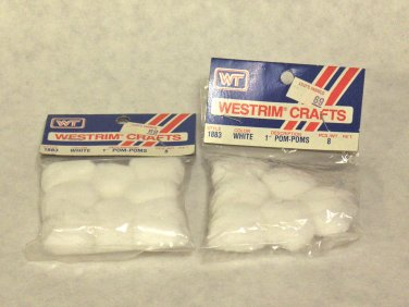 "NEW - WesTrim® Crafts '1"" White Pom-Poms' style #1883"