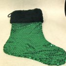 NEW - Unique Green Sequin Christmas Stocking w/Faux Black Fur Trim, Fully Lined