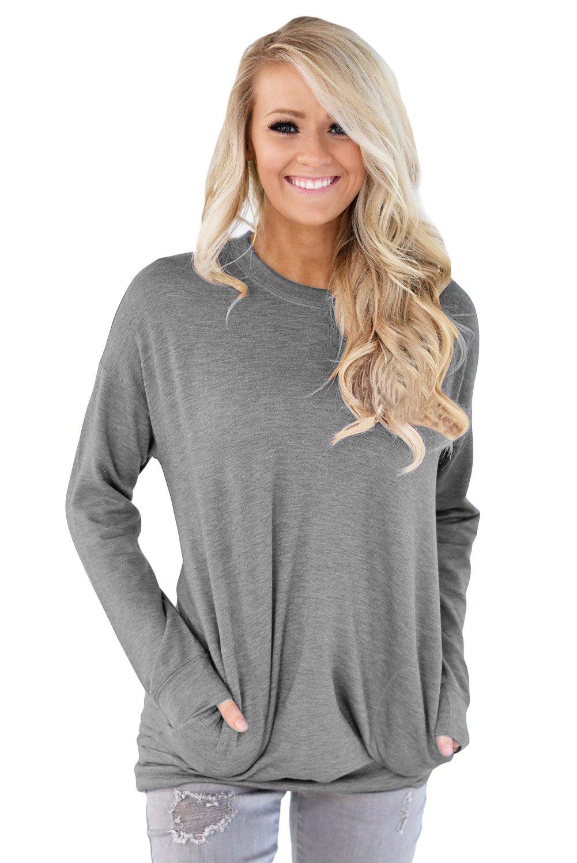 Grey Casual Pocket Style Women's Sweatshirt, size XL