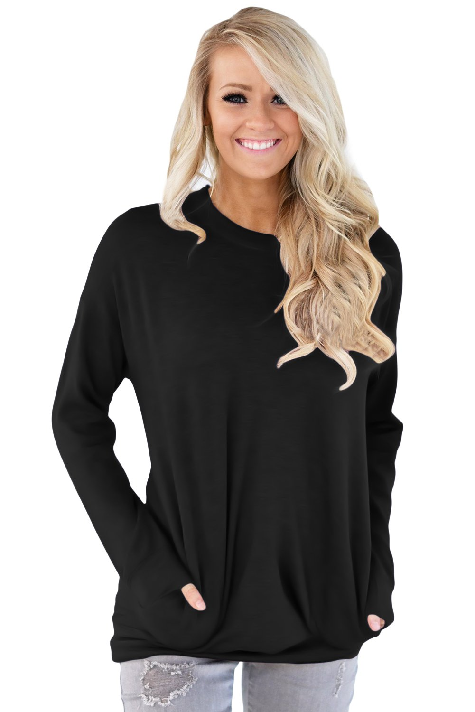 Solid Black Casual Pocket Style Women's Sweatshirt size S