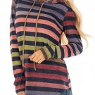 Multicolor Striped Drawstring Hoodie Size XL