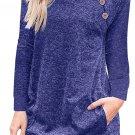 Triple Button Detail Blue Heather Sweatshirt Size XL