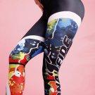 New Fiteness Mulitcolor Print Yoga Running Leggingss Size L