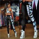 Women Fitness Words Print Sport Leggings Size M
