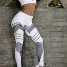 Gray Stripes Print White Running Fitness Leggings Size S